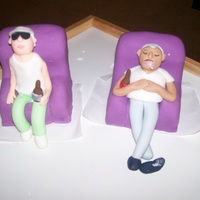 My Grandparents The chairs are rice crispie treats covered in fandont and the figures are fondant with a little CMC mixed in.