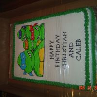Tmnt Birthday Cake I used a coloring page and traced the picture with piping gel and transferred to a sheet cake. Cake took me 4-5 hours but the looks on the...