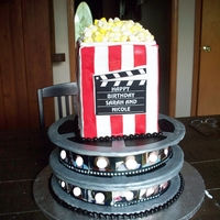 Movie Night This was a cake for a set of twins. They each had their own movie reel and the filmstrip was made with pictures of them for the film (...