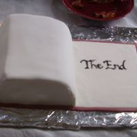 """the End"" Book Cake  (I apologize for the dark photo) This cake was made for a ""Spring Book Swap Brunch."" The cake ended up quite small, as I kept..."