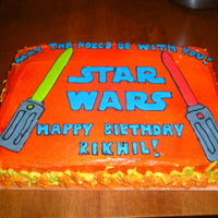 Star Wars Light Saber Cake butter cake with almond buttercream. My first airbrush job.