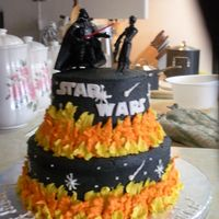 "Star Wars Cake for a friend's son. I copied the design from so many pictures I found here on CC. I just had to try it. Bottom tier 9""..."