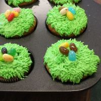Easter Cupcakes vanilla cake with buttercream and jelly beans for my son's preschool class. This was the easiest and fastest thing I did for my son&#...