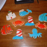 Sea Shore Cookies These are some cookies I made just for fun, using some new cutters I got.
