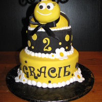 Gracie's Bee Cake 8, 6 and half ball pans. It was a pretty rushed job...Only done in 3 hrs! I would have loved more time...but they loved it anyhow.