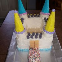 Castle Cake Made this for my nieces 7th Birthday!...made out of 3 square 8 x 8 in cakes....She loved it!!!.