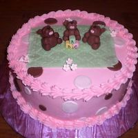 Bb5.jpg  This cake was done for a friendsâ baby shower. It is a French vanilla cake with whipped strawberry filling. The bears, blanket,...