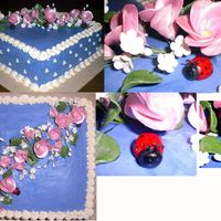 Ladybugs And Flowers This was a birthday cake for a friend. It is frosted in buttercream with fondant ladybugs. The flowers are gumpaste.
