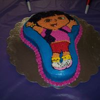 Dora The Explorer I made this for my daughters 3rd birthday. It was my first cake.
