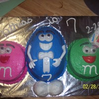 M&ms This was my version of M&Ms. We used Mr. Potato Head parts. This was a fun cake to do. The cakes were round and the center one was the...