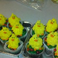 Easter/chick Cupcakes I made these for a cancer benefit dinner for the bake sale portion of it. They were chocolate fudge with peanut butter icing. They were a...