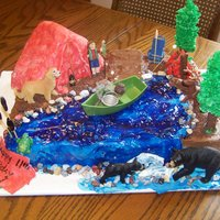 Birthday Hunting/fishing/camping Cake My son wanted a fishing hunting cake for his 11th bday. So I went a little farther and made it a wilderness camping cake. We have 3 golden...
