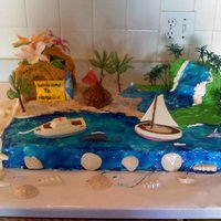 Bahamas Cake I made this for my sons 4th grade Valentines party. They had a Bahama theme. Shells, sailboat and boat made of chocolate. I made waterfall...