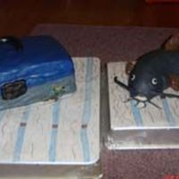 Tackle Box And Catfish Cake   Made these for my father in laws 60th birthday. He is big into fishing so we had a big party for him. Turned out ok.