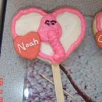 Elephant Cookie Pops  I made these for my sons Valentine Class Party. These were heart shaped cookies with a stick. Decorated to look like elephants. Each heart...