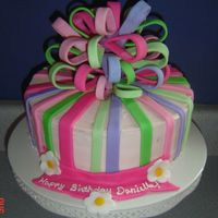 Girly Cake With Bow 3 layers with frosting and fondant accents. Thanks to karmacakes for all her help!!!