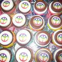Tie Dye Cupcakes Hi! I made these for a 60's theme party but more peace signs, tie dye and flower power. They are vanilla tie dye cupcakes with...