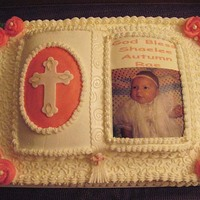 Christening Cake Hi! This is a half sheet cake with the small bible on top. Both are white cake. The sheet cake is half twinkie and half nutella buttercream...