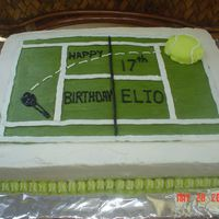 Tennis Anyone? Tennis themed birthday cake for 17 year old boy. Buttercream frosting.