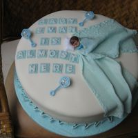Baby Boy Shower Cake 14 inch round, fondant and gum paste decorations. First cake since taking the new Wilton Fondant and Gum Paste class.
