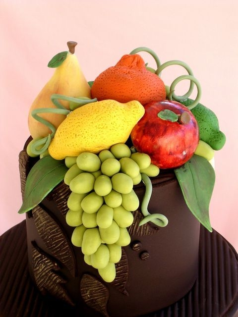 Choc Wedding Cake With Gumpaste Fruit