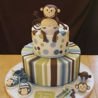 Monkey Themed Baby Shower I did this cake for one of my very best friends' baby shower. I did the baby shoes and rattle out of fondant covered stryo. balls,...
