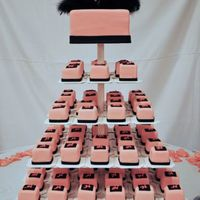 Pink Minis pink covered mini cakes with a pink top tier, monogram H on the minis and a jeweled H topper with some black feathers finish of the cake,...