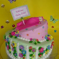 Whimsical Garden Themed Baby Shower Whimsical, all fondant, garden themed, baby shower cake for a girlfriend expecting a little girl. I put a lot of time into the hundreds of...