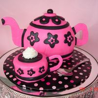 Teapot And Teacup My first teapot and cup. Made with the sports ball pans and covered in MMF. I have an order this weekend for a tea party so I figured I...