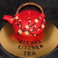 Asian Theme Teapot Choc mud cake. All fondant. Gold painted flowers