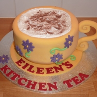 Cuppucino Cake Choc mud cake with fondant and royal icing froth