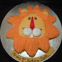 Lion's Head 1St Birthday Marble choc and white choc mud cake. All fondant. Writing in edible ink.