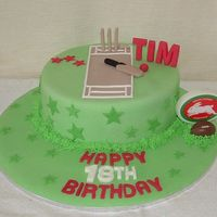 Cricket & Football Team Cake Choc mud cake with fondant and royal icing grass