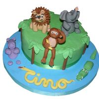 Jungle Cake   For my son's birthday It is all fondant. The snake writes his name (Tino)