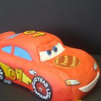 Lightning Mcqueen  more of a front pic, I loaded one like this before but somehow never posted. this was my second time doing a lightning mcqueen cake and I...