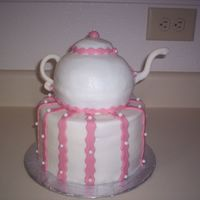 "Teapot Cake   My first attempt at a teapot cake. It's for a little girls 6th ""Tea Party"" Birthday."