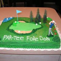 Golf Cake Birthday cake for my boss. Carrot cake with cream cheese II filling and BC icing. Fondant putting green and balls. Plastic man and trees....