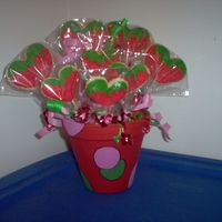 Strawberries! I made these as a birthday gift for my mother in law. She loves strawberries. I even flavored the royal icing strawberry....