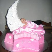 Sun And Moon Naming Day Cake   full fondant with dummy crescent covered in royal.