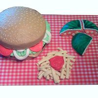 Cheeseburger Cheeseburger, Watermelon and French Fries cake inspired by and with lots of guidance from JenbenJr - thank you so much! I had trouble with...