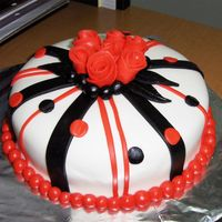 B&w With Red Accents This cake was ordered yesterday afternoon and needed this morning. I do not like working under pressure. All things considered, I think it...