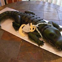 Alligator   We made this cake for a friend it was a lot of fun but wow it took forever. Vanilla cake covered in MMF.