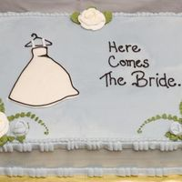 Here Comes The Bride... Thank you tirby for your inspiration! This was a fabulous cake to make. 2-layer 11x15 cake, WASC with raspberry filling. All bc decorations...