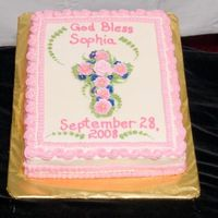 Sophie's Baptism  This was for a baptism - 11x15 single-layer sheet marble sheet cake. I tried some different borders - thanks! I really like how it has a...