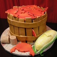 Another Crab Bushel This is about my 5th bushel cake but I think it turned out the best. The bushel is three stacked 9inch round cakes. The strips are made out...
