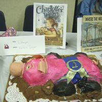 My Grandaughter Kaitelins First Cake This is my granddaughter Kaitelins Wilbur cake from Charlotte's Web for the International edible cake festival, I helped only when...