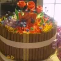 Flower Basket Cake, Large One large flower basket with fondant flowers.