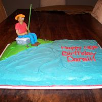 Fishing Birthday Cake  This cake was made for my cousin who is turning 40! His wife wanted a fishing cake, she left the design up to me. I found out that he has a...
