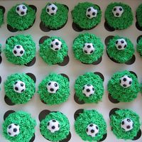 Soccer Cupcakes I made 85 cupcakes for my friends son's birthday party. Used the grass tip and plasitc soccer balls.