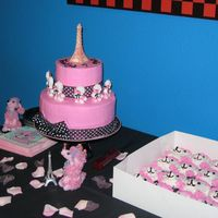 Pink Poodle Cupcakes & Cake This is a shot showing the cupcakes and the cake together. The kids ate the cupcakes which were pink poodles and the adults ate the cake....
